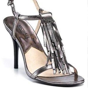 Michael Kors- Metallic gunmetal fringe heel